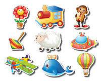 Different kind of toys sticker. Illustration Royalty Free Stock Image
