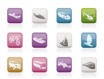 Different kind of transportation and travel icons. Icon set Stock Photos