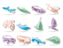 Different kind of transportation and travel icons. Icon set Stock Photo