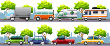 Different kind of transportations on the road Royalty Free Stock Photo