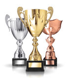Different kind of trophies. Three different kind of trophies on white background Royalty Free Stock Photography
