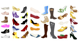 Different kind of woman shoes. Illustration of different kind of woman shoes Stock Images