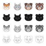Different kinds of animals, muzzle fox, wolf, dog and bear. Muzzle of an animal set collection icons in cartoon black Royalty Free Stock Photos