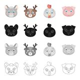 Different kinds of animals, muzzle mouse, deer, chicken, pig. Muzzle of an animal set collection icons in cartoon black Stock Photos