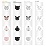 Different kinds of animals, muzzle mouse, deer, chicken, pig. Muzzle of an animal set collection icons in cartoon black. Monochrome outline style vector symbol Royalty Free Stock Photography