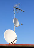Different kinds of antennas Royalty Free Stock Photography