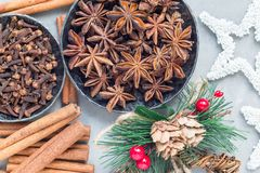 Different kinds of aromatic winter spices in bowls and on table, christmas decoration on gray concrete background, top view Royalty Free Stock Image