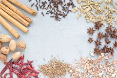Different kinds of aromatic winter spices on a gray concrete background, top view, copy space stock photo