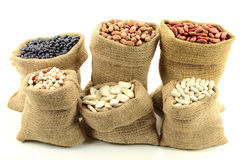 Different kinds Beans. Stock Photo of Different kinds  Bean Seeds (legume, pulse) in burlap bags (sacks) front view  over white background Stock Photo