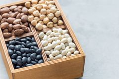 Different kinds of beans: black, pinto, white and chickpeas in wooden box on concrete background, copy space, horizontal. Different kinds of beans: black, pinto Royalty Free Stock Images