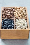 Different kinds of beans: black, pinto, white and chickpeas in a wooden box on gray concrete background, vertical. Different kinds of beans: black, pinto, white Royalty Free Stock Photos