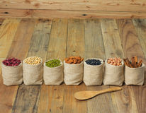 Different kinds of beans in sacks bag Royalty Free Stock Images