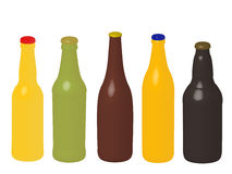 Different Kinds of Beer Bottles Without Labels 3D Stock Photography