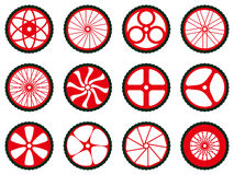 Different kinds of bike wheels. Bike wheels with tires and spokes. Royalty Free Stock Image