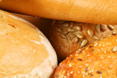 Different kinds of bread. Closeup of different kinds of fresh bread Stock Photography