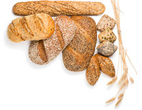 Different kinds of bread, above view Stock Photography