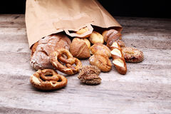 Different kinds of bread and bread rolls Stock Images