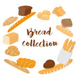 Different kinds of bread set for cafe menu. Collection of pastry or bakery items isolated on white for print or web. Cartoon bread Stock Photography