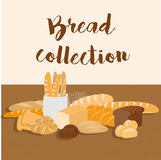 Different kinds of bread set. Collection of isolated pastry items top view for print or web. Bakery shop menu. Royalty Free Stock Image