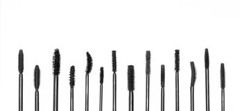 Different kinds of brushes of mascara royalty free stock photo