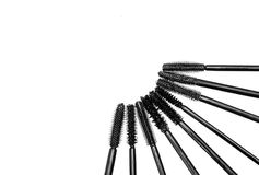 Different kinds of brushes of mascara stock images