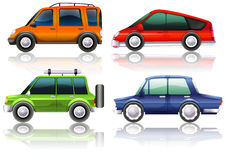 Different kinds of cars in four colors royalty free illustration