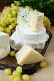 Different kinds of cheese on a background of grape Stock Photos