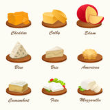 Different kinds of cheese on cutting board. Vector illustration. Set of different kinds of cheese on cutting board. Realistic vector illustration. Cheese Stock Image