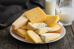 Different kinds of cheeses. Royalty Free Stock Photos