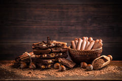 Different kinds of chocolates Stock Images