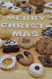 Christmas cookies and MERRY CHRISTMAS Stock Photos