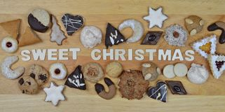 Christmas cookies and SWEET CHRISTMAS Stock Photos