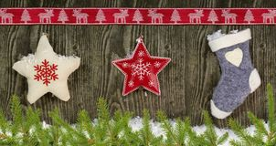Different kinds of christmas decoration royalty free stock image