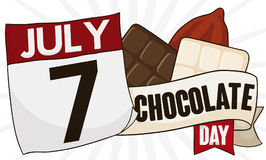 Different Kinds of Cocoa Candies with Calendar for Chocolate Day, Vector Illustration. Banner with loose-leaf calendar, greeting ribbon and some delicious kinds royalty free illustration