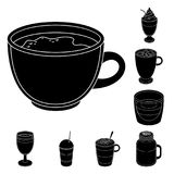 Different kinds of coffee black icons in set collection for design. Coffee drink vector symbol stock web illustration. Different kinds of coffee black icons in Royalty Free Stock Images