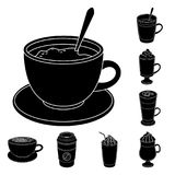 Different kinds of coffee black icons in set collection for design. Coffee drink vector symbol stock web illustration. Different kinds of coffee black icons in Royalty Free Stock Photography