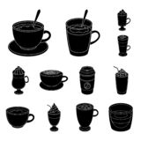 Different kinds of coffee black icons in set collection for design. Coffee drink vector symbol stock web illustration. Different kinds of coffee black icons in royalty free illustration