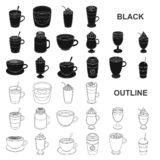 Different kinds of coffee black icons in set collection for design. Coffee drink vector symbol stock web illustration. Different kinds of coffee black icons in vector illustration