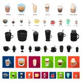 Different kinds of coffee cartoon icons in set collection for design. Coffee drink vector symbol stock web illustration. Different kinds of coffee cartoon icons stock illustration