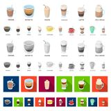 Different kinds of coffee cartoon icons in set collection for design. Coffee drink vector symbol stock web illustration. Different kinds of coffee cartoon icons royalty free illustration