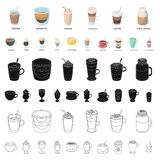 Different kinds of coffee cartoon icons in set collection for design. Coffee drink vector symbol stock web illustration. Different kinds of coffee cartoon icons vector illustration