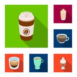Different kinds of coffee flat icons in set collection for design. Coffee drink vector symbol stock web illustration. Different kinds of coffee flat icons in Stock Photography