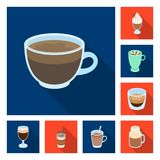 Different kinds of coffee flat icons in set collection for design. Coffee drink vector symbol stock web illustration. Different kinds of coffee flat icons in Royalty Free Stock Image