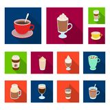 Different kinds of coffee flat icons in set collection for design. Coffee drink vector symbol stock web illustration. Different kinds of coffee flat icons in Stock Photos