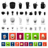 Different kinds of coffee flat icons in set collection for design. Coffee drink vector symbol stock web illustration. Different kinds of coffee flat icons in vector illustration