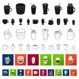 Different kinds of coffee flat icons in set collection for design. Coffee drink vector symbol stock web illustration. Different kinds of coffee flat icons in royalty free illustration