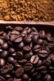 Different kinds of coffee on wooden plate. Selective focus Royalty Free Stock Photography