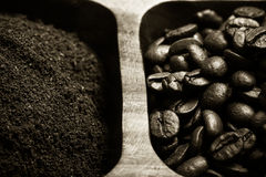 Different kinds of coffee on wooden plate. Selective focus. Tone Royalty Free Stock Photography
