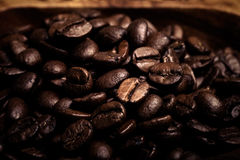 Different kinds of coffee on wooden plate. Selective focus. Tone Royalty Free Stock Photo