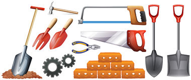 Different kinds of construction tools Royalty Free Stock Images